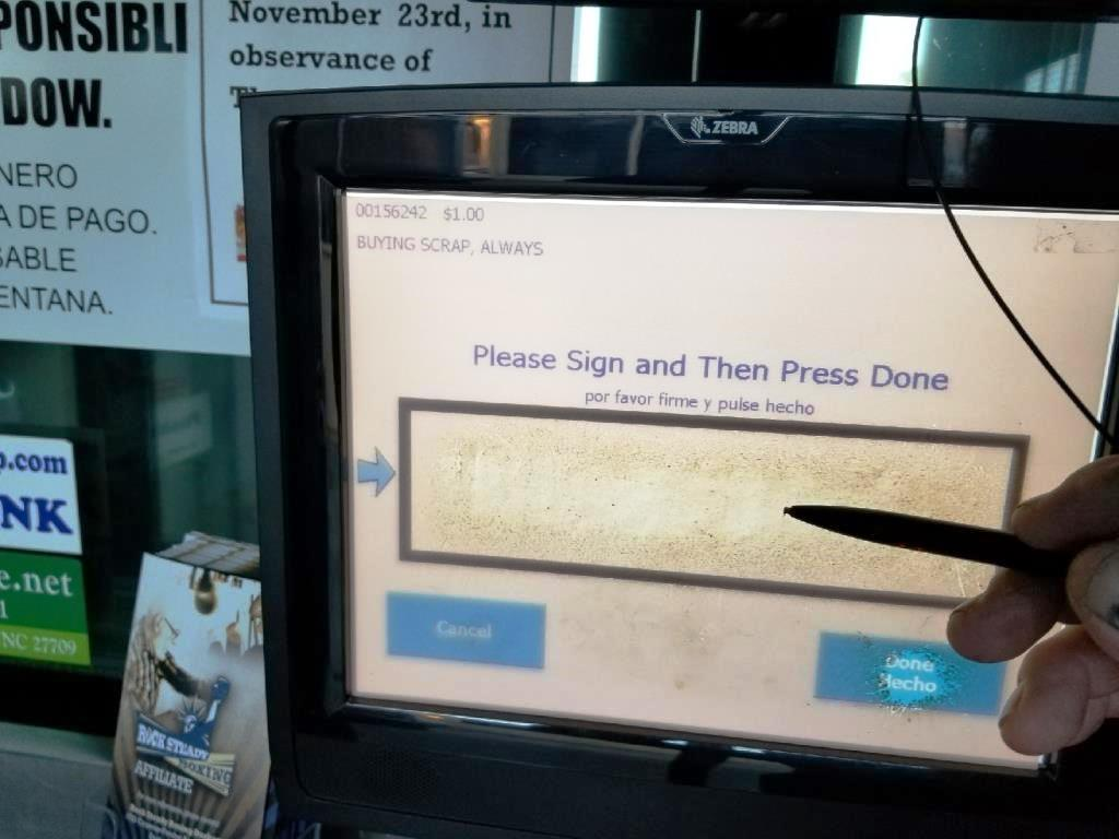 Sign the screen with the stylus