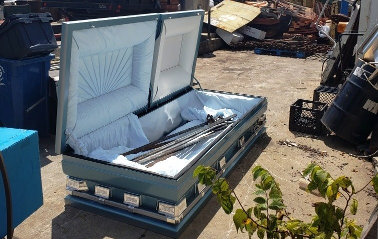 A final journey for a casket